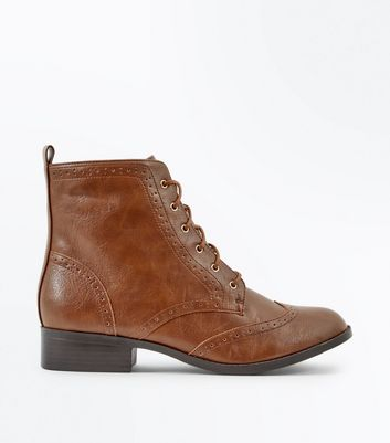 Tan Lace Up Brogue Boots