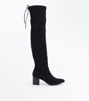 Black Suedette Pointed Toe Heeled Over Knee Boots by New Look