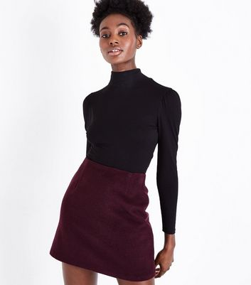 Burgundy Brushed Wool Mix Mini Skirt