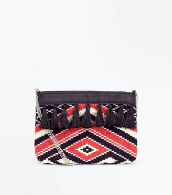 Black Aztec Straw Woven Cross Body Bag