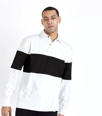 White Colour Block Stripe Rugby Top