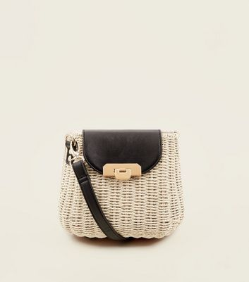 Cream Straw Mini Box Bag