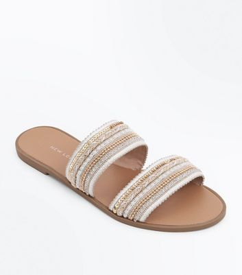 Cream Beaded Double Strap Mules