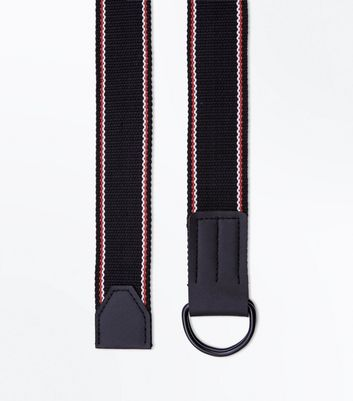 Black Woven Double D Ring Belt