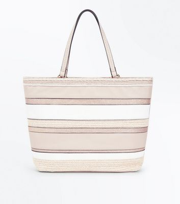 Mink Stripe Straw Shopper Bag