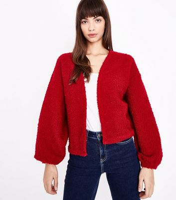 Red Boucle Balloon Sleeve Cardigan