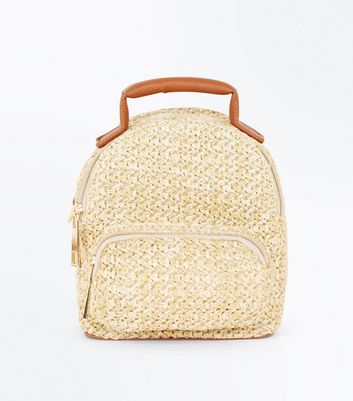 Tan Straw Convertible Strap Mini Backpack