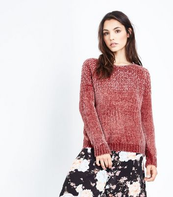 Cameo Rose Pink Honeycomb Yoke Chenille Jumper
