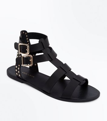 Black Studded Buckle Gladiator Sandals
