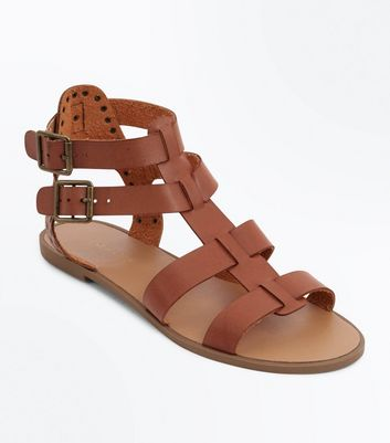 Tan Stud Buckle Gladiator Sandals