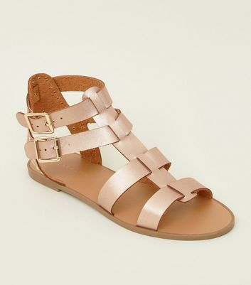 Rose Gold Studded Buckle Gladiator Sandals