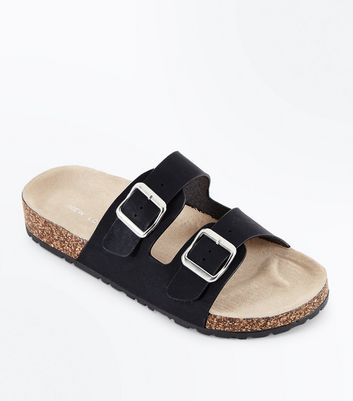 Black Double Buckle Strap Sliders