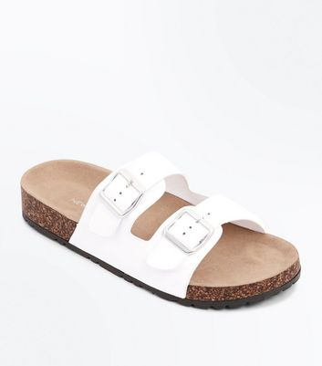 White Double Buckle Strap Footbed Sandals