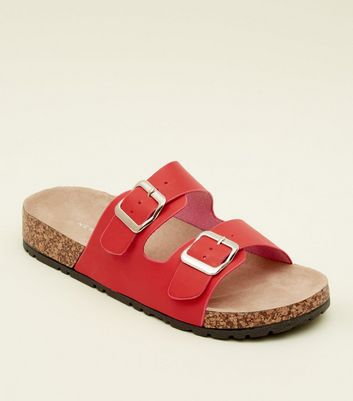 Red Double Buckle Strap Footbed Sandals