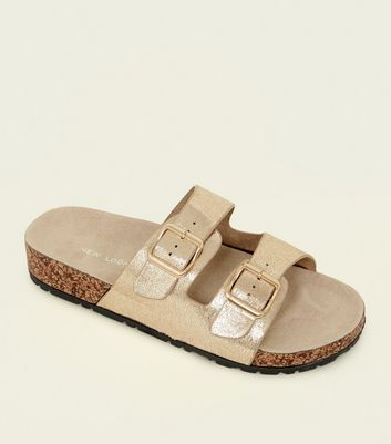 Gold Double Buckle Strap Footbed Sandals
