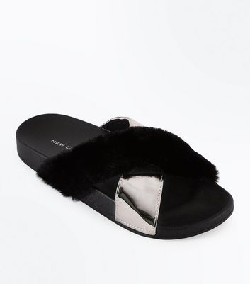 Black Faux Fur Metallic Strap Sliders