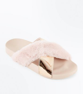 Pink Faux Fur Metallic Strap Sliders