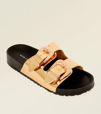 Rose Gold Metallic Western Buckle Sliders