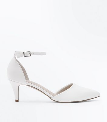 White Comfort Flex Pointed Ankle Strap Courts