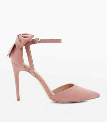 Nude Suedette Bow Back Pointed Courts