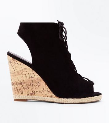 Black Suedette Ghillie Wedges