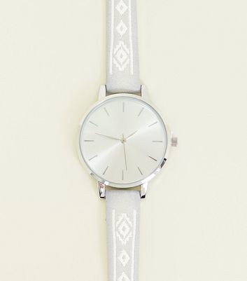 Pale Grey Aztec Embroidered Strap Watch