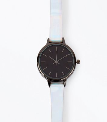 Silver Holographic Strap Watch