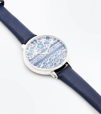 Blue Paisley Printed Dial Strap