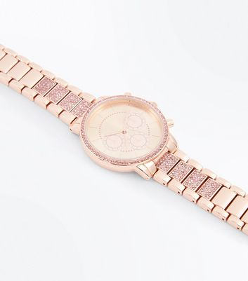 Rose Gold Diamante Strap Watch