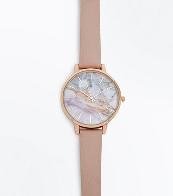 Pink Strap Marble Dial Watch