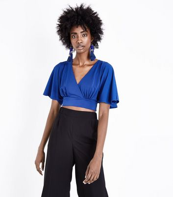Blue Cape Sleeve Wrap Front Crop Top
