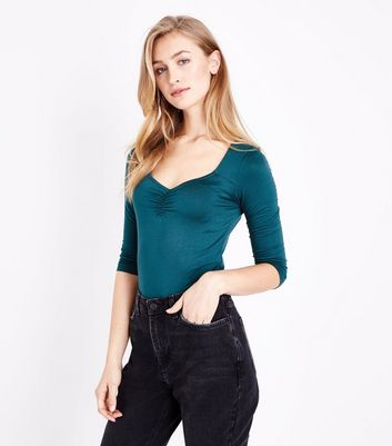 Dark Green Sweetheart Neck Ruched Front Bodysuit