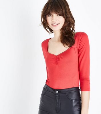 Red Sweetheart Neck Ruched Front Bodysuit