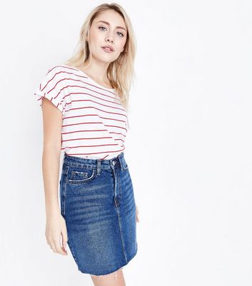 Petite Blue Frayed Hem Denim Skirt