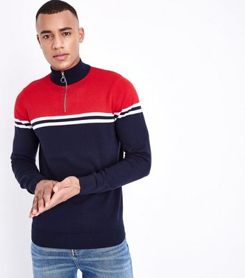 Navy Colour Block Stripe Funnel Neck Jumper