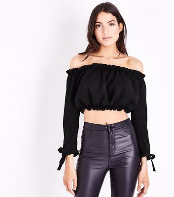 Black Gathered Bardot Sleeve Crop Top