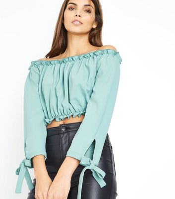 Green Gathered Bardot Tie Sleeve Crop Top