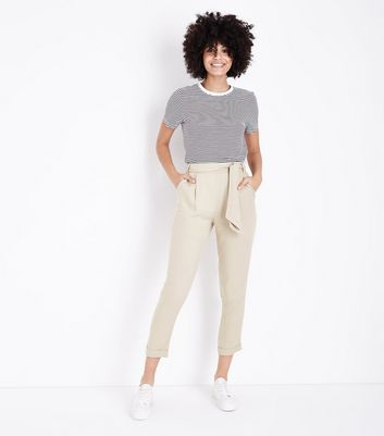 Stone Tie Waist Tapered Trousers