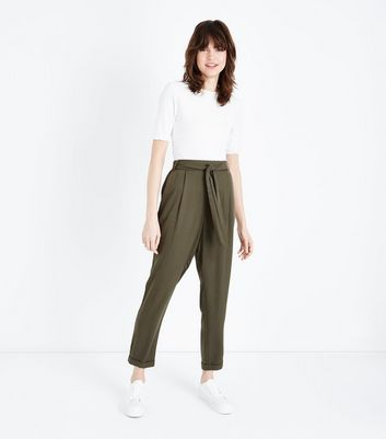 Khaki Tie Waist Tapered Trousers by New Look