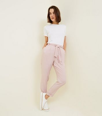 Coral Tie Waist Tapered Trousers by New Look