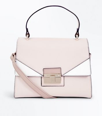 Cream Colour Block Cross Body Bag