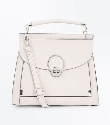 Cream Twist Lock Top Handle Bag