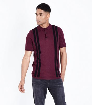 Burgundy Vertical Stripe Polo Shirt