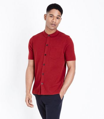 Dark Red Button Through Polo Shirt