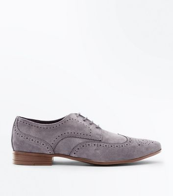 Pale Grey Faux Suede Brogues