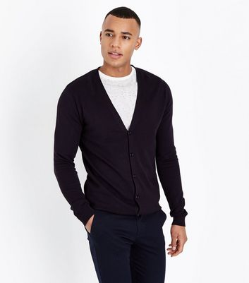 Navy Grey Fine Knit Cardigan