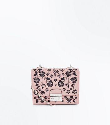 Pink Floral Embroidered Chain Shoulder Bag