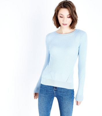 Pale Blue Panelled Rib Jumper