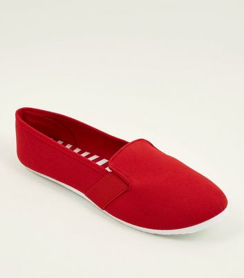 Red Canvas Slip On Plimsolls