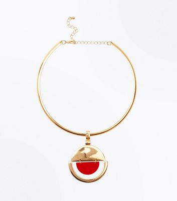 Red Geometric Pendant Torque Necklace by New Look